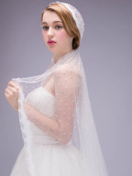 Cap veil pearl lace edge cathedral length wedding veil