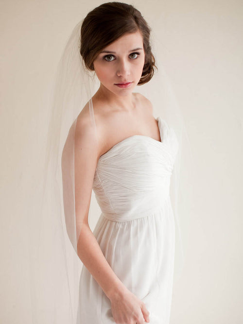 Chapel length illusion tulle single tier wedding veil