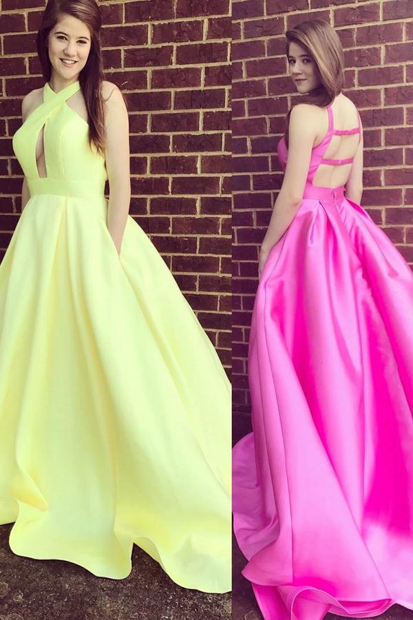 Cross shoulder straps keyhole open back satin prom dress with pocket