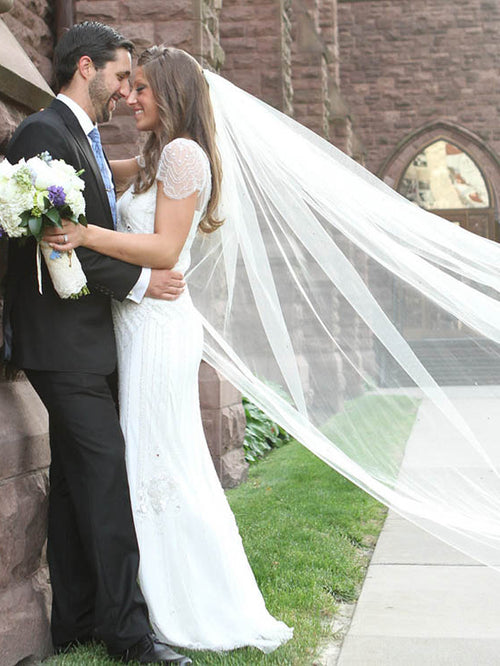 Custom ivory cathedral length single tier wedding veil