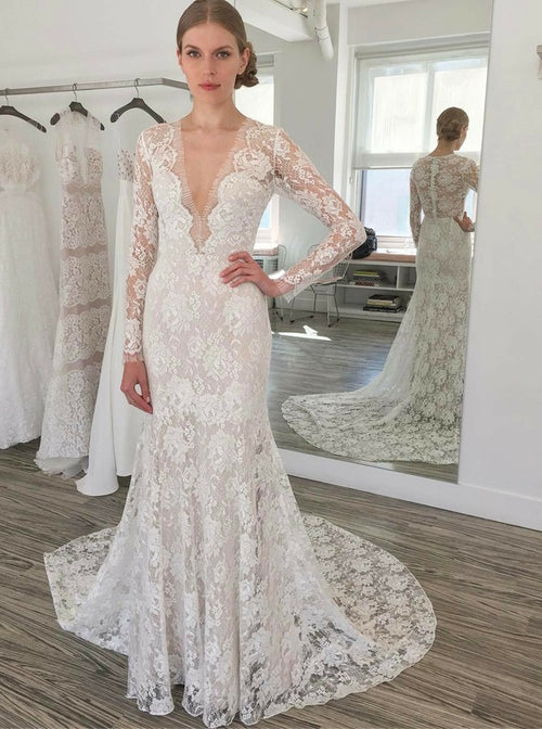 Deep v-neck long sleeves mermaid lace wedding dress with chapel train