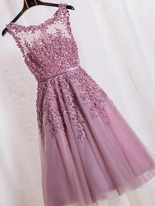 Delicate beading applique tea length tulle prom dress