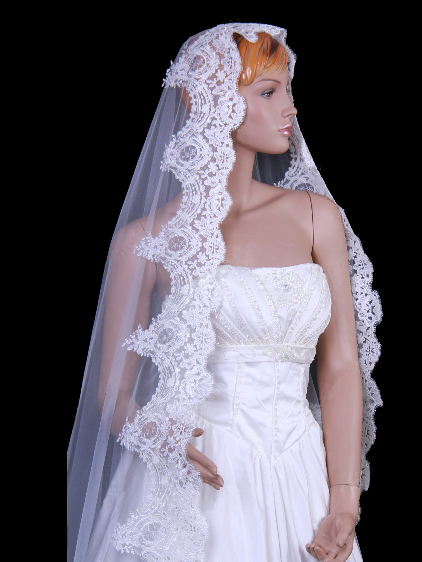 Elegant tulle one tier chapel train veil with appliques Va009