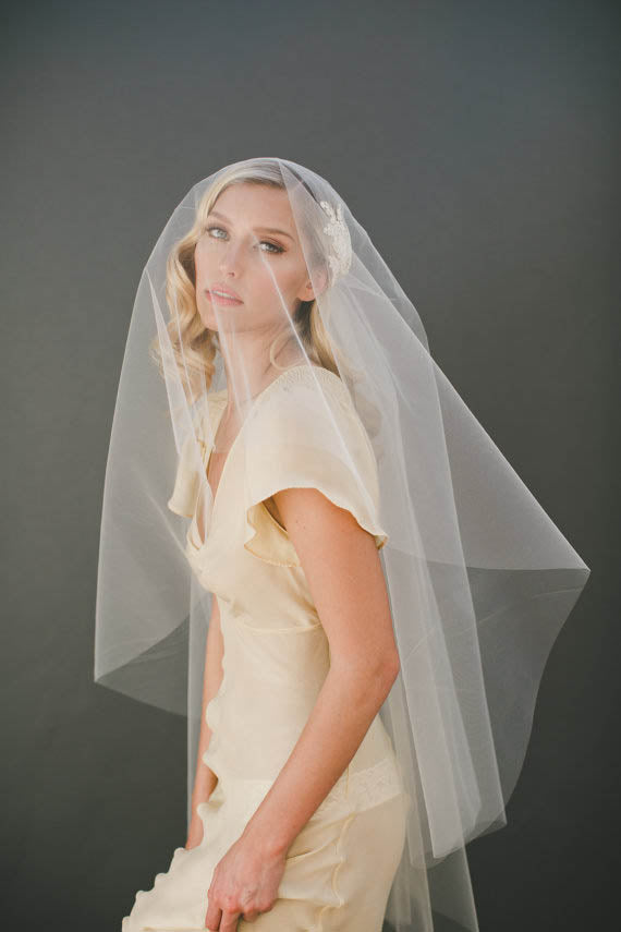 Embellished appliqued cap veil fingertip length bridal veil