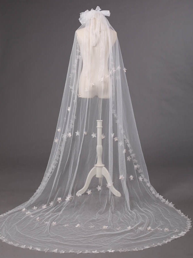 England style big headdress flowers chapel length bridal veil