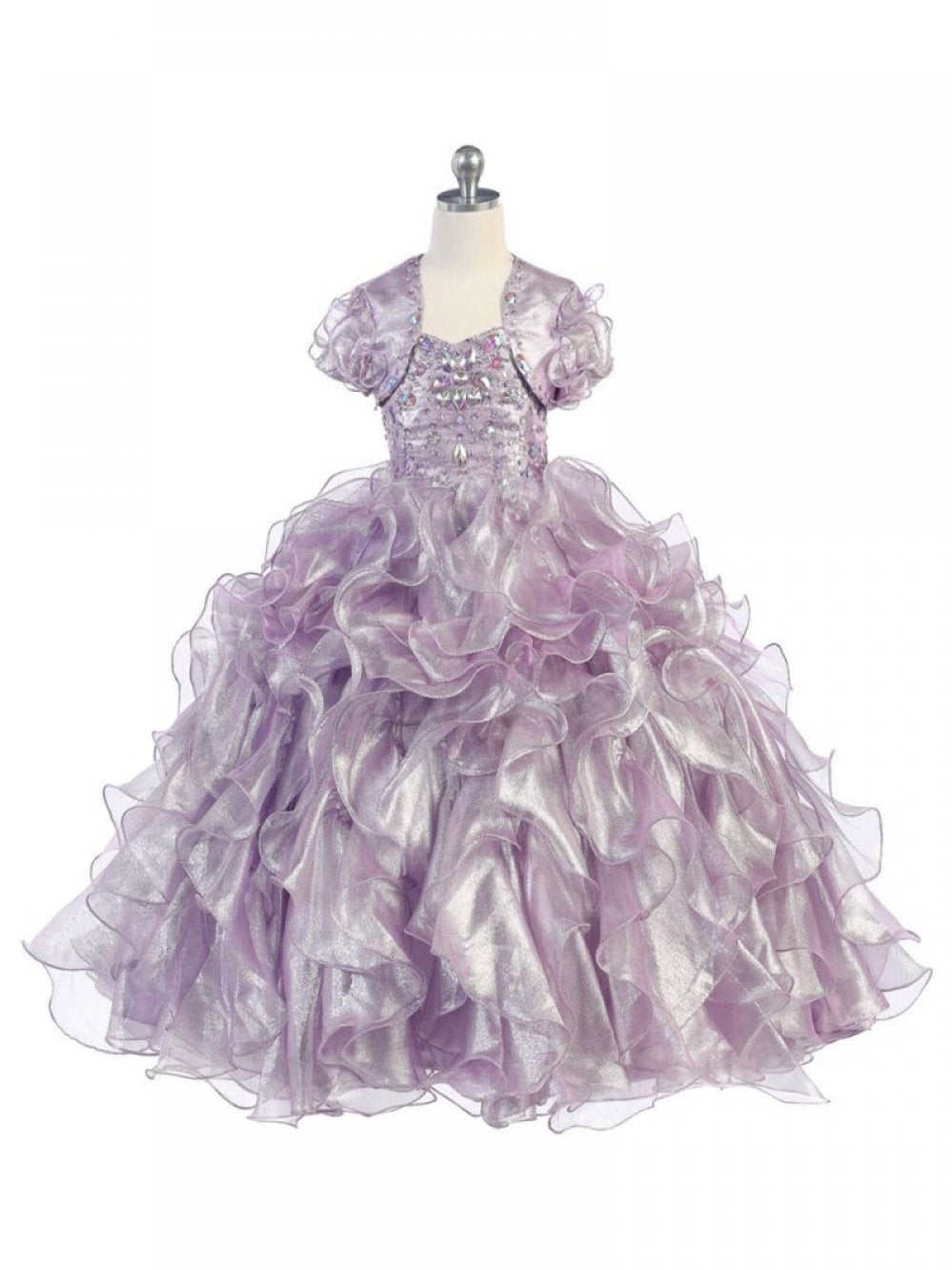 Falbala layered ball gown flower girl dress