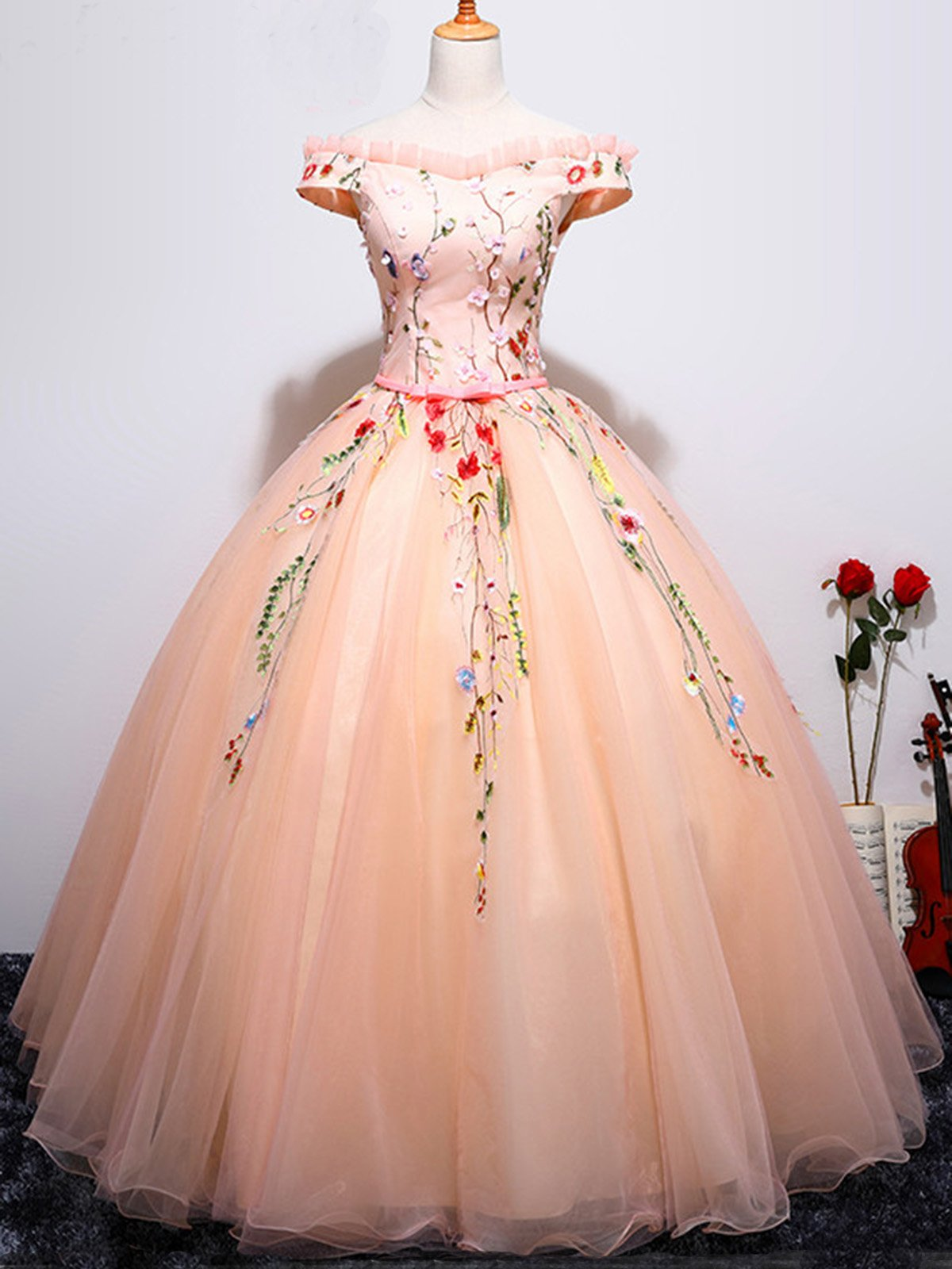 Falbala off the shoulder flower ball prom gown