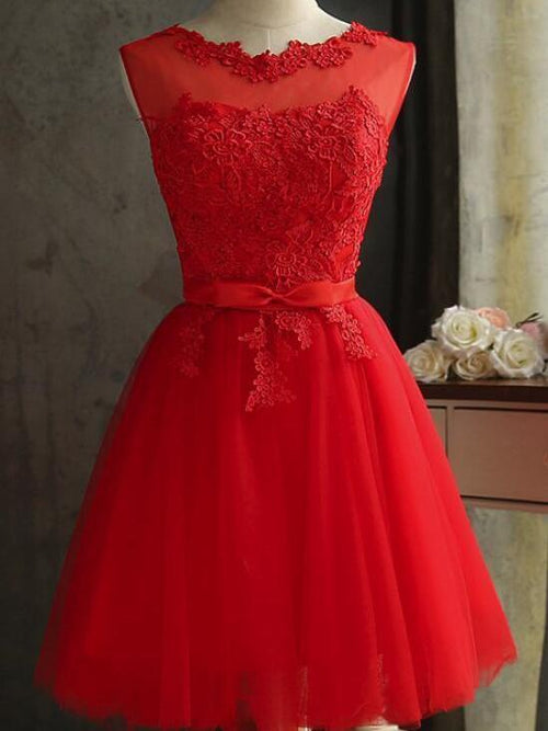 Freash red bateau applique sleeveless short prom dress with bowknot belt