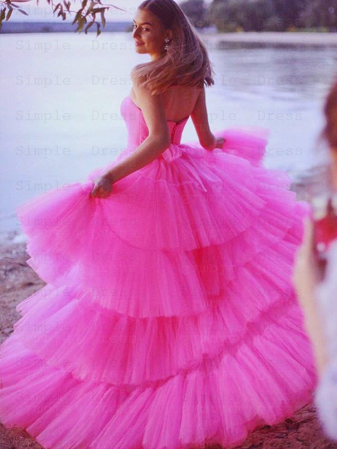 High-low strapless pleated pink tulle layered prom dress