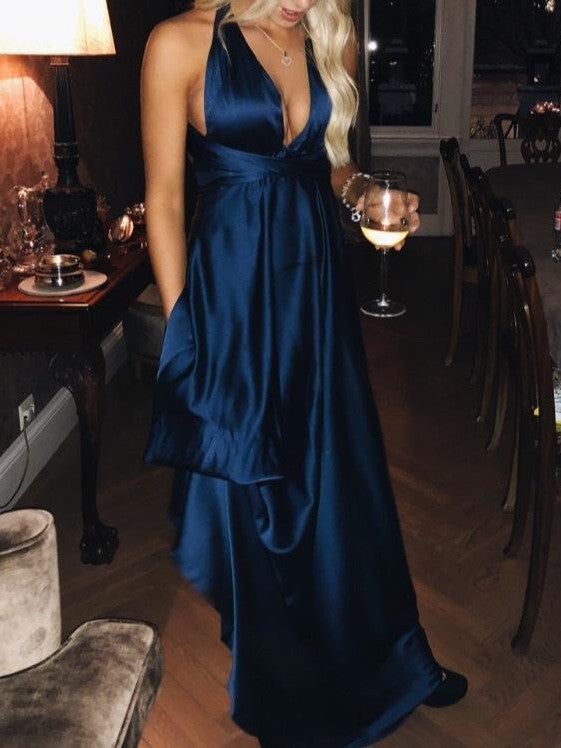 Hot sale sexy halter blue satin prom gowns new fashion with slit