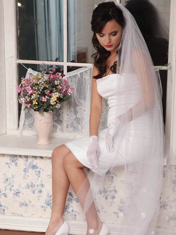 Illusion chapel length floral wedding tulle veil