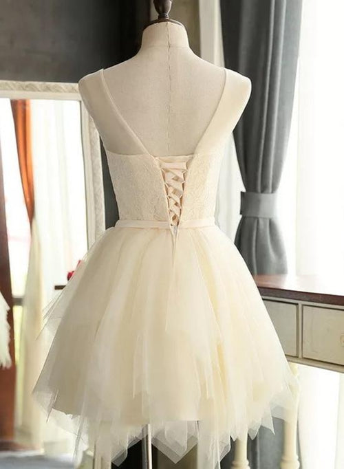Ivory bateau sleeveless short prom dress with bowknot belt
