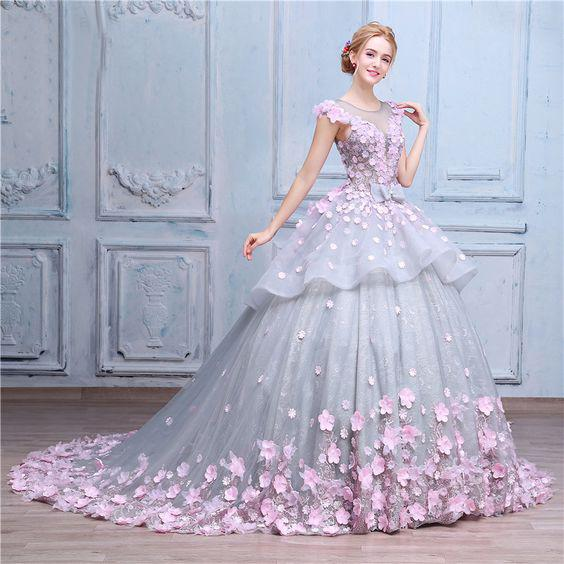 Jewel cap sleeves ball gown for quinceanera with 3D floral