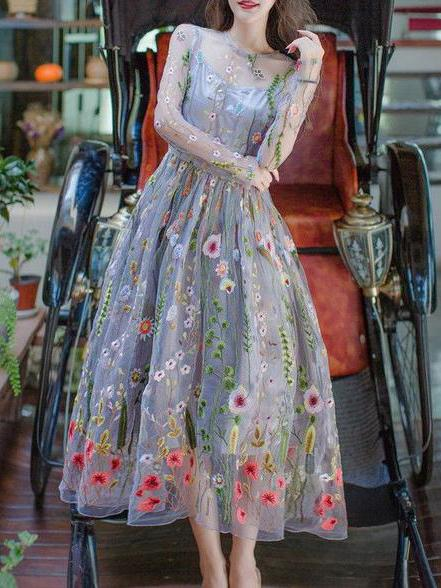 Jewel long sleeves embroidery tea length prom dress