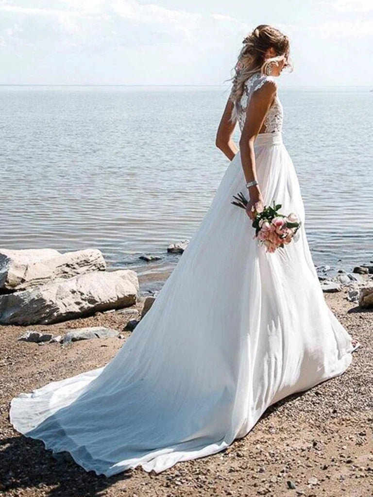 A-line jewel sleeveless applique beach wedding dress with slit