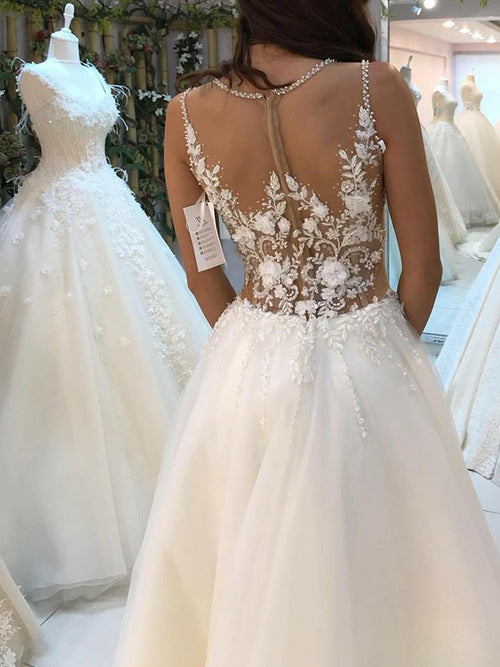 Jewel sleeveless pearl flowers sheer wedding dress with chapel train