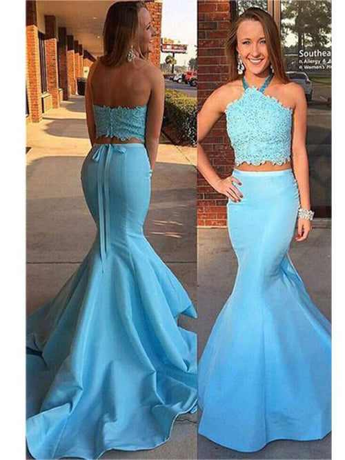 Mermaid halter sleeveless two-pieces prom dress