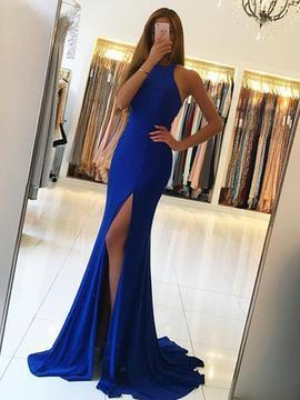Mermaid jewel sleeveless slit prom dress with sweep train