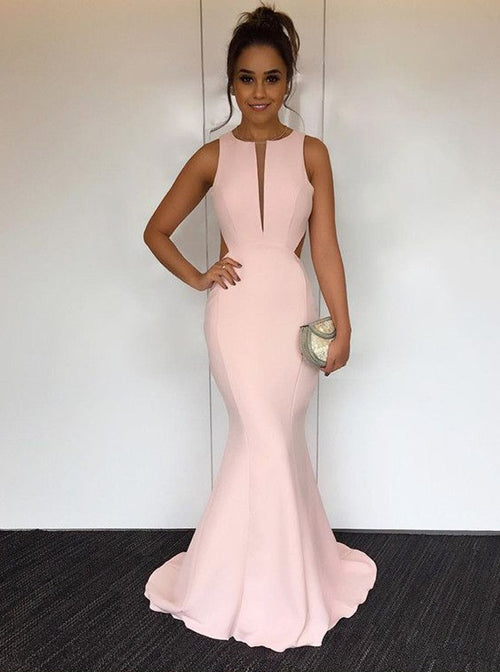 Mermaid jewel v-neck pink prom dress uk