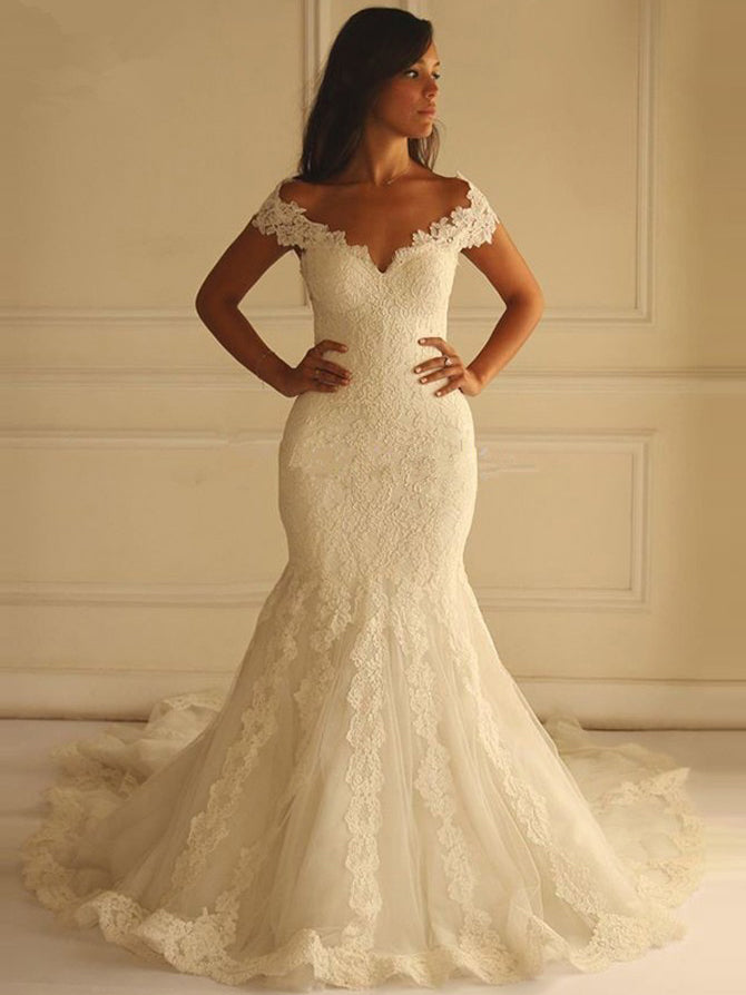 Mermaid off the shoulder applique wedding dress with chapel train