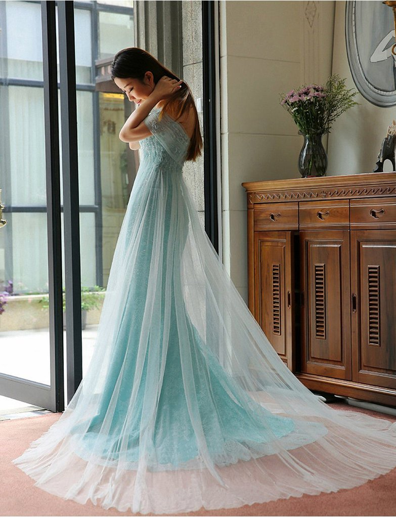 Mermaid off the shoulder pleated appliqued lace tulle sexy prom dress