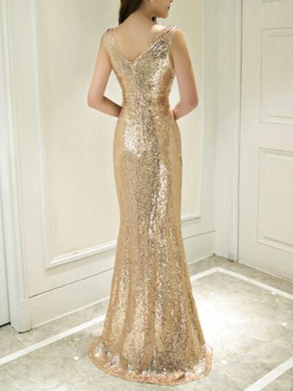 Mermaid sexy v-neck sparking gold sequins prom dress