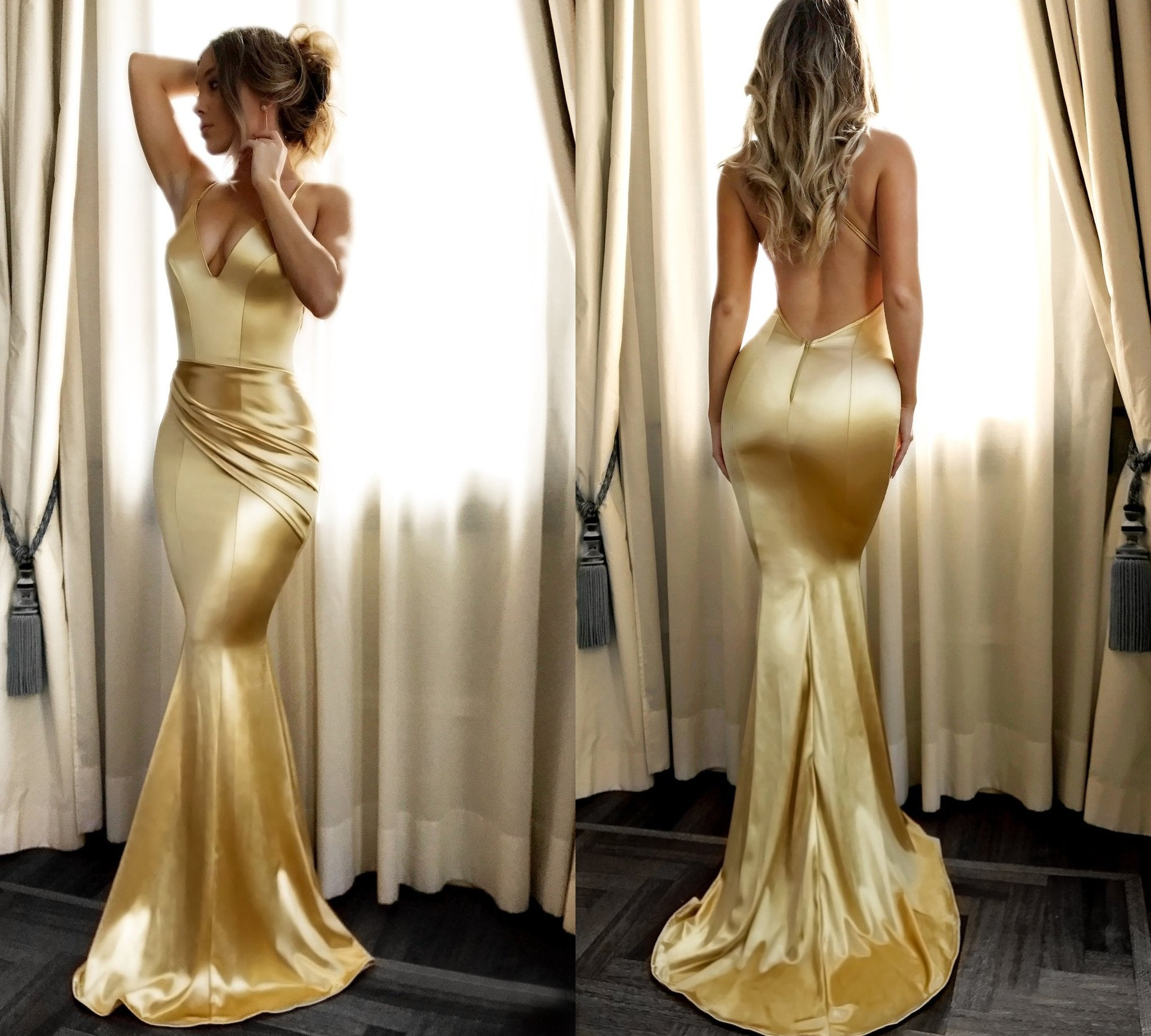 Mermaid spaghetti straps backless sexy prom gown