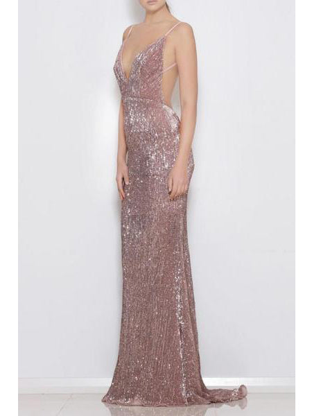 Mermaid spaghetti straps open back stretch sequin fabric sexy prom dress