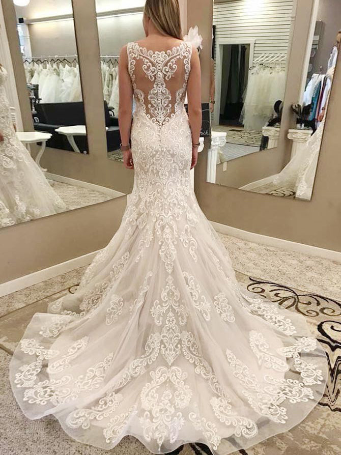 Mermaid straps embroidery organza wedding dress with chapel train