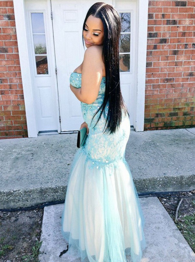 Mermaid sweetheart strapless pearl appliqued plus size prom dress