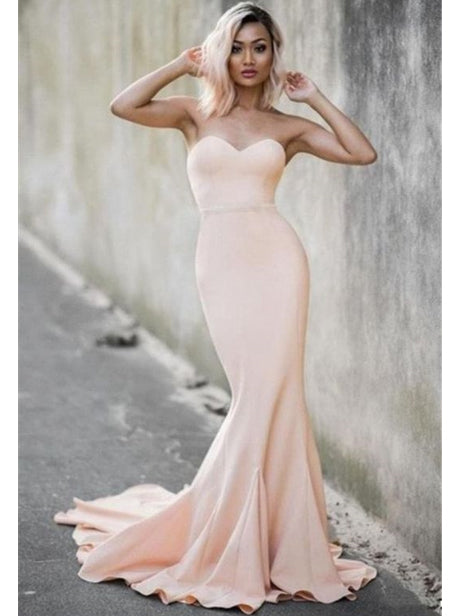 Mermaid sweetheart strapless sexy pink prom gowns hot with sweep train