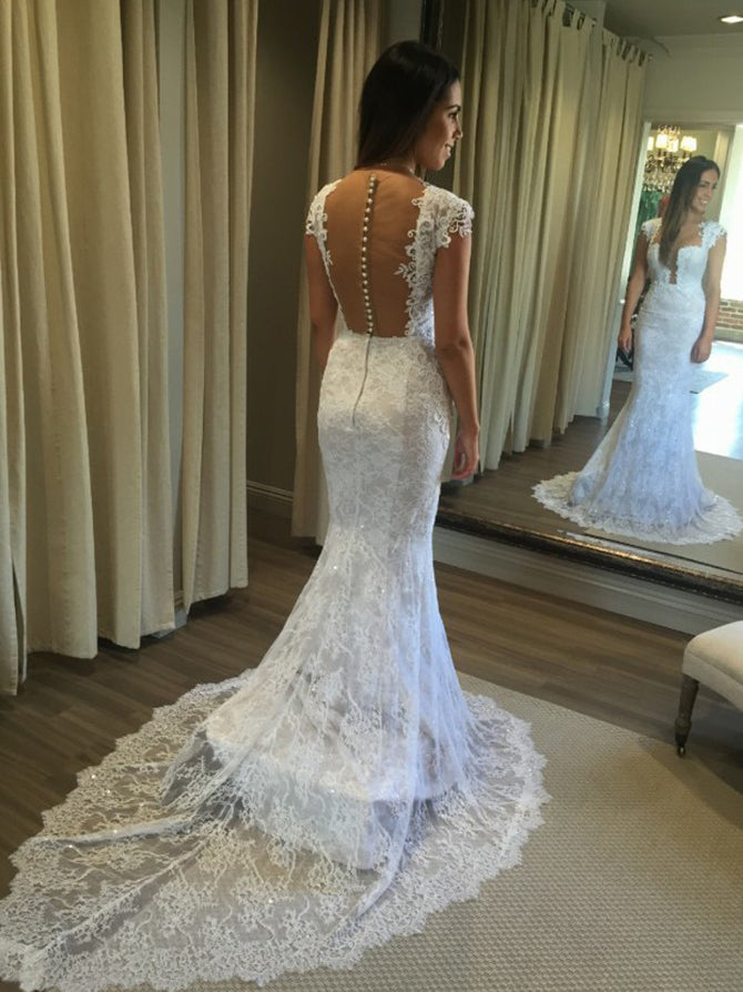 Mermaid unique T-neck lace sexy wedding dress with chapel train