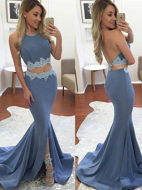 Mermaid halter sleeveless two-pieces prom dress with lace appliqued