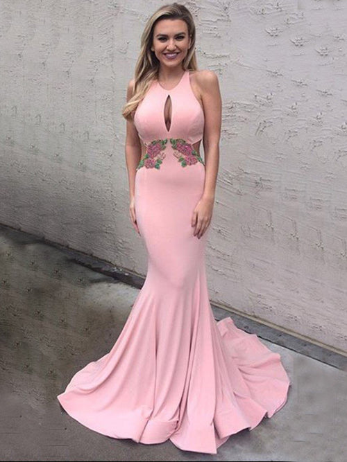 Mermaid jewel sleeveless embroidery sexy backless prom dress