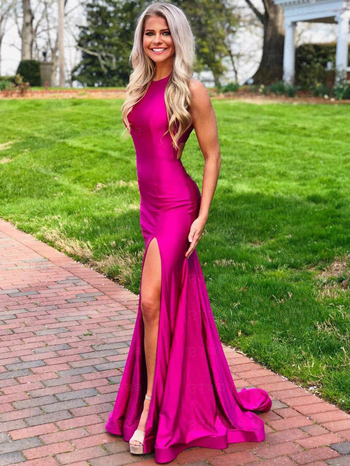 Mermaid jewel sleeveless taffeta prom dress with slit