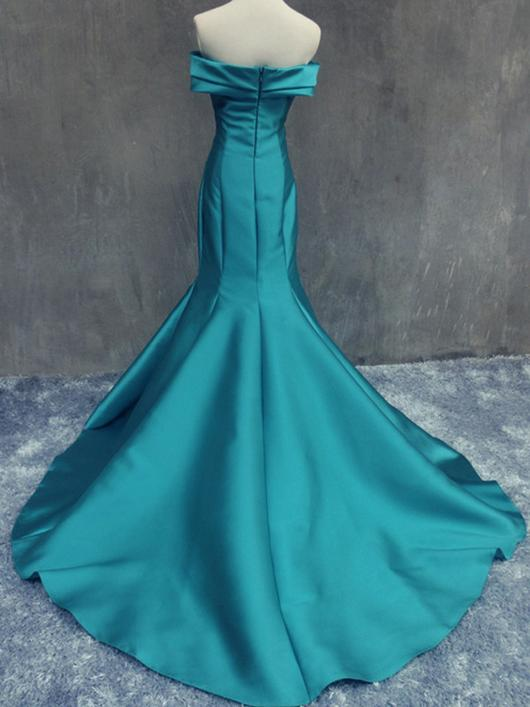 Mermaid ruffle strapless satin mermaid celebrity prom dress