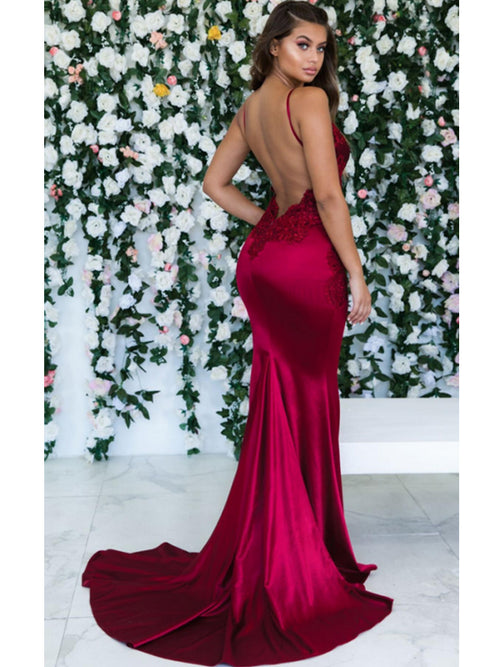 Mermaid spaghetti straps backless sexy prom dress with embroidery