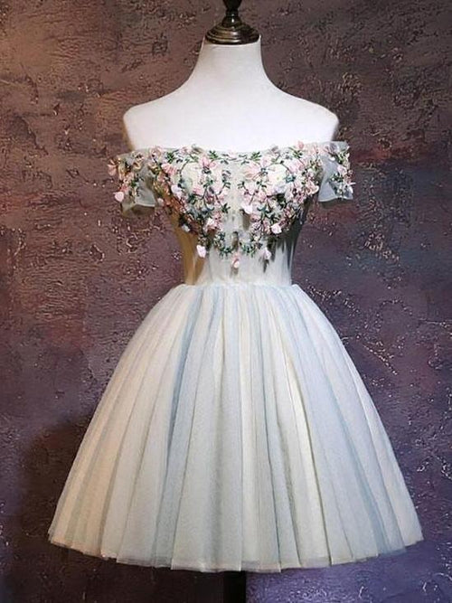 Off-the-shoulder short-sleeves tulle prom dress with 3D flowers