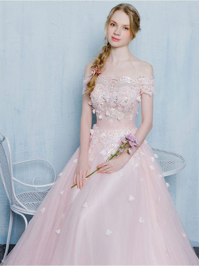 Off the shoulder crystal pleated pink cute pink prom dress