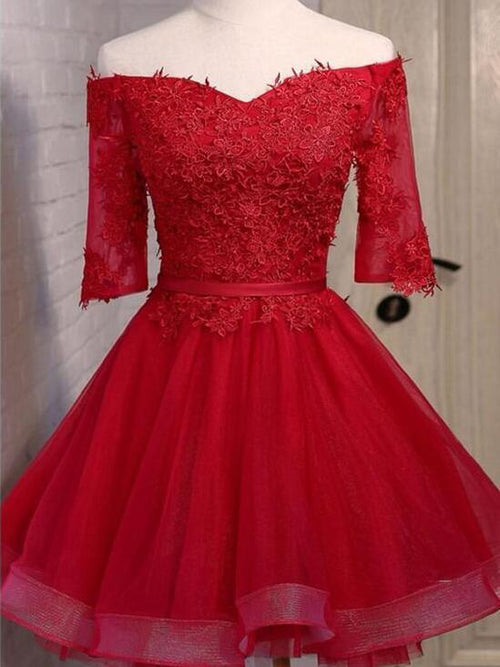 Off the shoulder half-sleeves short prom dress with applique
