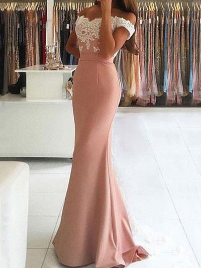 Off the shoulder lace applique mermaid prom dress