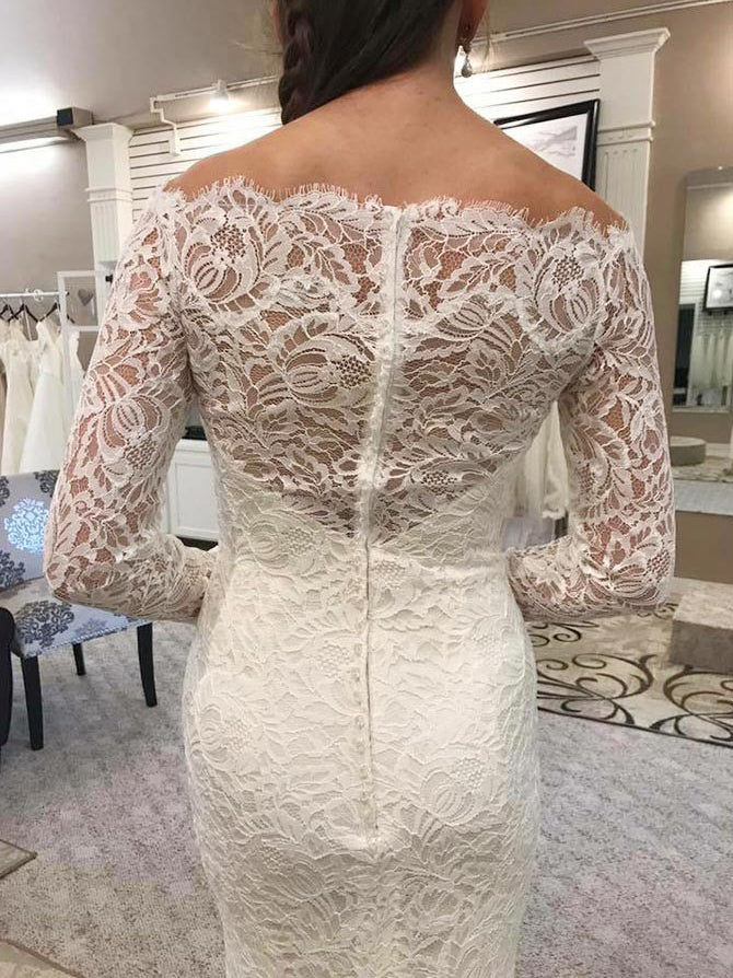 Off the shoulder long sleeves elegant lace wedding dress with sweep train