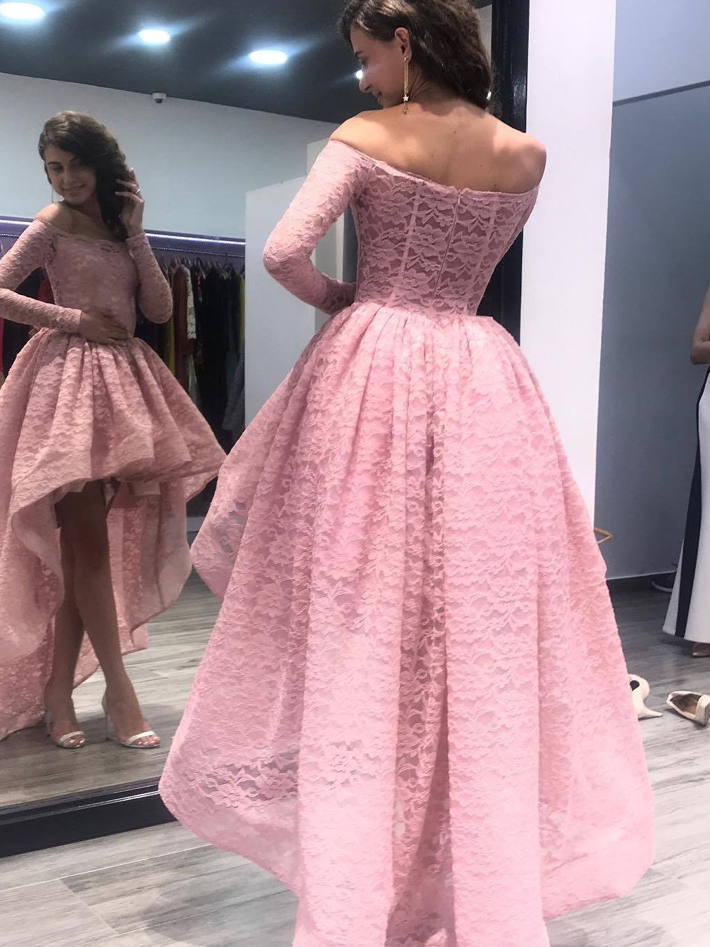 Off the shoulder long sleeves high low lace prom dress