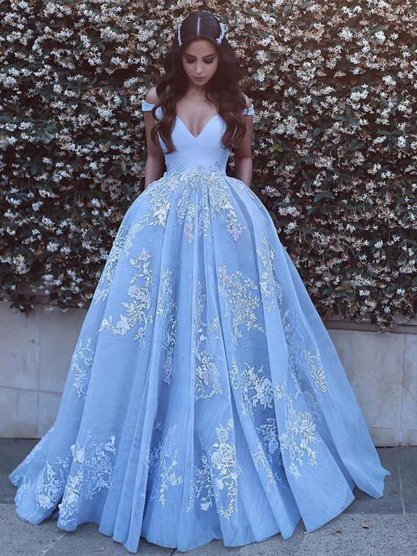 Off the shoulder sexy empire waist appliqued prom gown