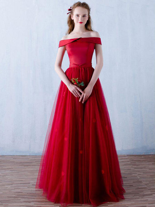 5bcf6209104 Off the shoulder turn-down collar red prom dress