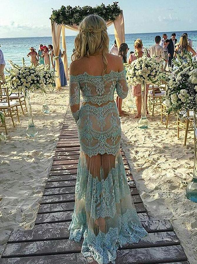 Off the shoulder long sleeves sexy mermaid sheer prom dress