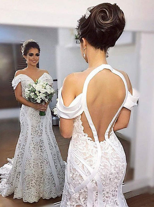 Off the shoulder sheer tulle mermaid Arabian style wedding dress