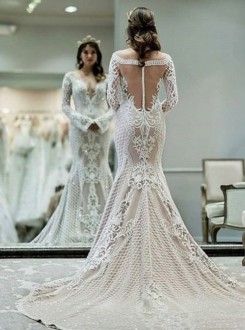 Off the shoulder v-neck long sleeves mermaid wedding dress
