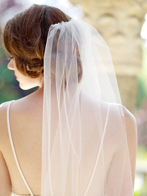 One-tier floor length waterfall drop bridal veil