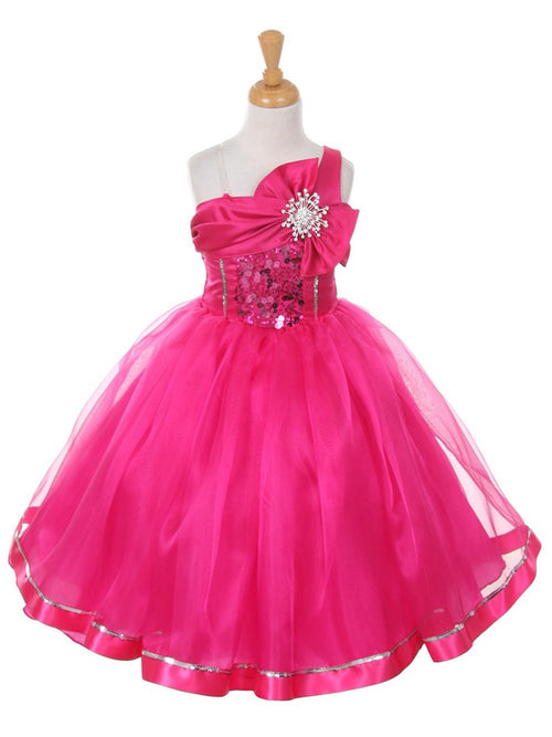 One Shoulder Ball Gown Flower Girl Dress with Bowknot and Brooch